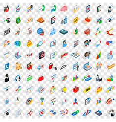 100 statistics icons set isometric 3d style vector