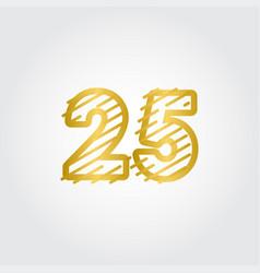 25 years anniversary gold line design logo vector