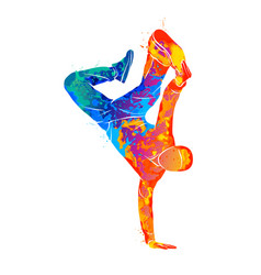 abstract young man break dancing from splash of vector image
