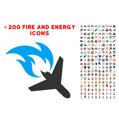 airplane fire disaster icon with bonus power vector image
