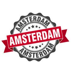 amsterdam round ribbon seal vector image