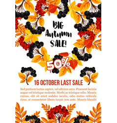 autumn sale banner template with fall season leaf vector image