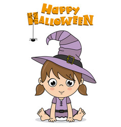 Baby girl dressed up as a witch for halloween vector