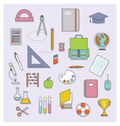 BACK TO SCHOOL FLAT ICONS COLLECTION vector