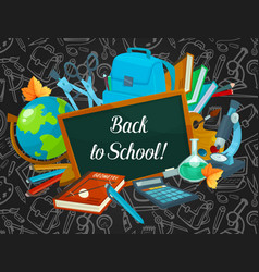 back to school welcoming poster of study supplies vector image