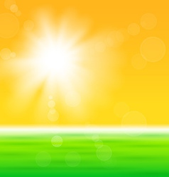 Background with shiny sun over the field vector image