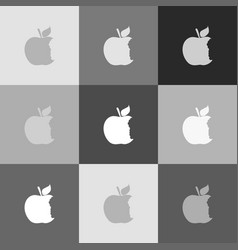 Bite apple sign grayscale version of vector