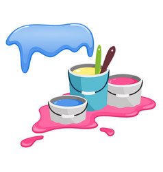 Buckets with paint splashes of paint vector