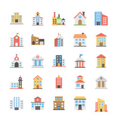 Buildings flat icons pack vector