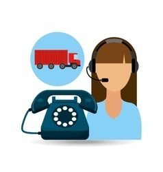call centre woman working truck delivery logistic vector image