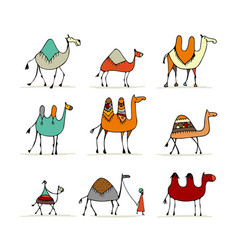 camel set sketch for your design vector image