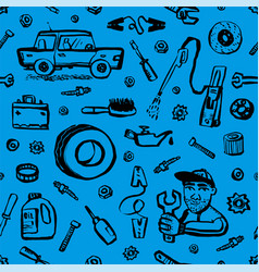 car service seamless pattern blue seamless vector image