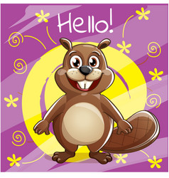 Cartoon beaver hello vector
