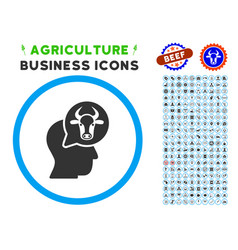 Cattle thinking person rounded icon with set vector