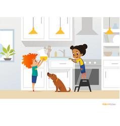 Children cooking food in kitchen red head boy vector