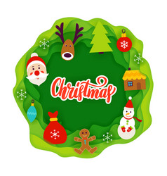 Christmas paper cut concept vector
