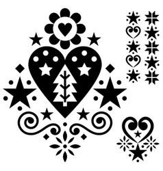 christmas scandinavian folk art design set vector image