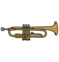 Classic brass trumpet vector
