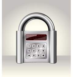Closed padlock with digital interface vector image