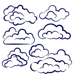 Clouds collection sketch cartoon vector