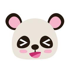Colorful cheerful panda head wild animal vector