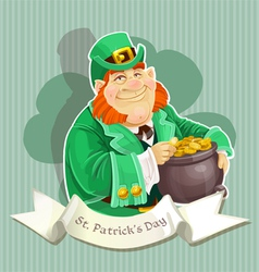 Cute big fat Leprechauns guard the pot of gold vector image