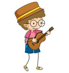 Cute boy playing acoustic guitar doodle cartoon vector