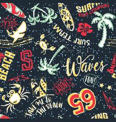 cute surf beach cartoon elements patchwork vector image