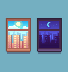 Day and night window cartoon skyscrapers at night vector