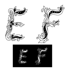 Decorated capital letters E and F vector image