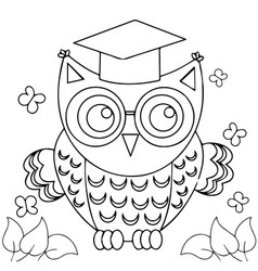 Decorative owl cartoons adult coloring book pages vector