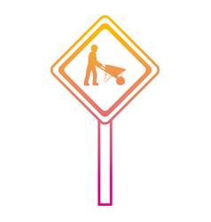 Degraded line diamond caution emblem and laborer vector
