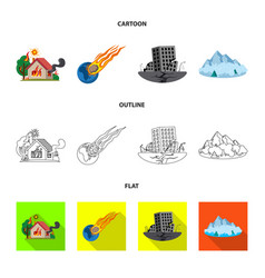 design of natural and disaster icon set of vector image