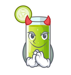 Devil delicious cucumber juice on table cartoon vector