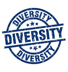 diversity blue round grunge stamp vector image vector image