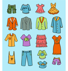 Doodle colored family clothing set vector