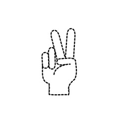 Dotted shape hand with peace and love gesture vector