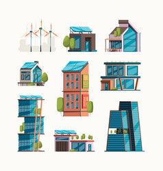 eco friendly buildings smart city with future vector image