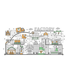 ecological factory concept flat line art vector image