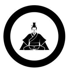 emperor of china icon in round black color black vector image