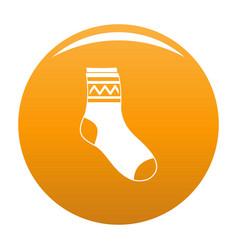 Fabric sock icon orange vector