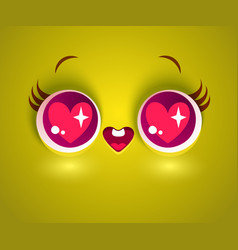 face with hearts in eyes vector image