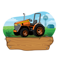 farm tractor on the farming land vector image