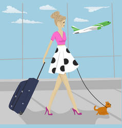 Fashion woman with dog and suitcase at airport vector