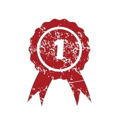 First place red grunge icon vector