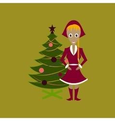 Flat on background of Christmas girl vector
