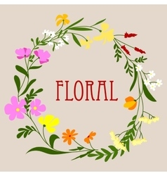 floral frame with colorful spring flowers vector image