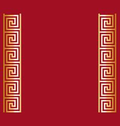 Gold greek key meander border background vector