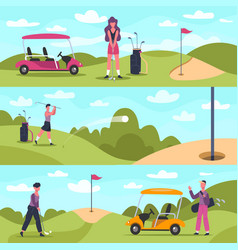 golf banners male and female characters vector image
