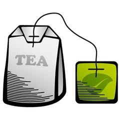 Green tea bag icon vector